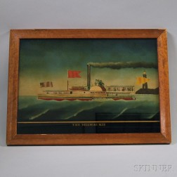 Reverse-painted Glass Portrait of the Paddle Boat The Milwaukie