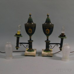Pair of Paint-decorated Argand Lamps