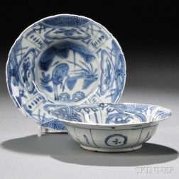Two Blue and White Kraak Ware Bowls