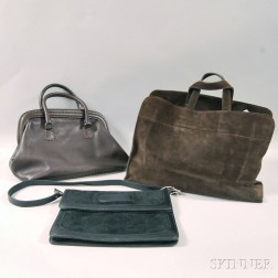 Brown Stitched Leather Purse with Silver-tone Hardware