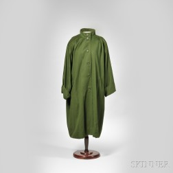 Lady's Christian Dior Green Wool Overcoat