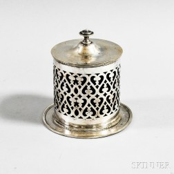 Silver-plated Tea Canister and Two Salt Shakers