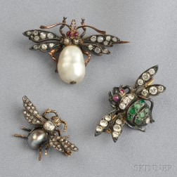 Three Antique Gem-set Insect Brooches