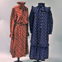 Two Saint Laurent Silk and Polyester Blend Gingham Peasant Dresses