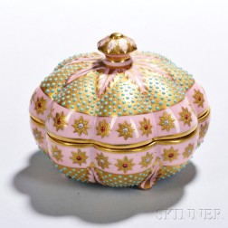 Jeweled Coalport Porcelain Scalloped Box and Cover