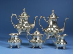 Poole Silver Co. Five Piece Sterling Tea and Coffee Service
