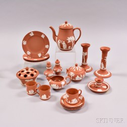 Nineteen Wedgwood Terra-cotta Jasper Items.