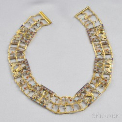 18kt Gold, Enamel, and Diamond Collar