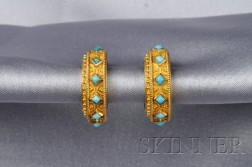 Etruscan Revival Gold and Turquoise Earrings