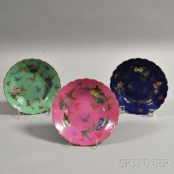 Three Famille Rose Butterfly Dishes