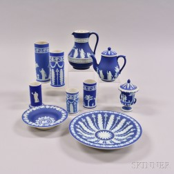 Ten Wedgwood Dark Blue Jasper Items