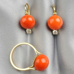 18kt Gold and Coral Suite