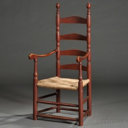 Red painted Maple and Ash Slat-back Armchair