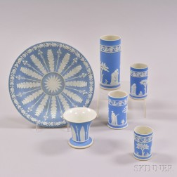 Six Wedgwood Light Blue Jasper Items