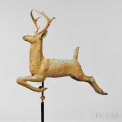 Molded Copper Leaping Stag Weathervane