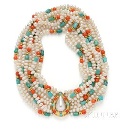 18kt Gold, Freshwater Pearl, Coral, and Turquoise Necklace, Tambetti