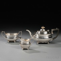 Three-piece George V Sterling Silver Tea Service