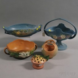 Five Mostly Roseville Pottery Items