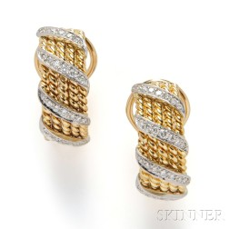 18kt Gold and Diamond Earrings, Schlumberger, Tiffany & Co.