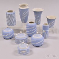 Ten Wedgwood Incised Light Blue Jasper Vases and Jars