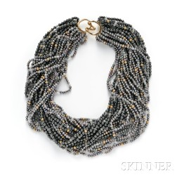 14kt Gold, Hematite, and Pearl Torsade Necklace