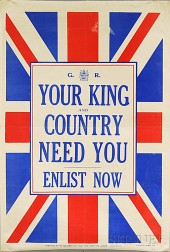 British Your King and Country Need You   WWI Lithograph Poster