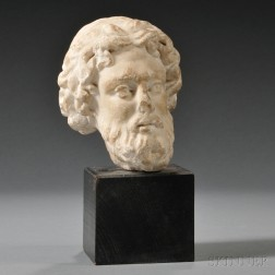 Roman-style Carved Marble Head of a Man