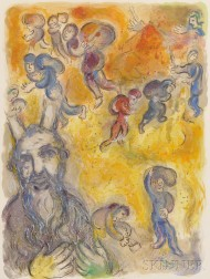 Marc Chagall (French/Russian, 1887-1985)      Moses Looked Upon his Brethren's Burdens