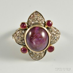 18kt Gold, Sterling Silver, Diamond, and Ruby Ring