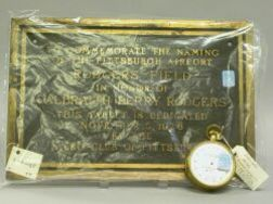 Whiteside-Cooks Gilt-metal Aneroid Barometer and a 1926 Rodgers Field Pittsburgh   Airport Bronze Dedication Plaque.