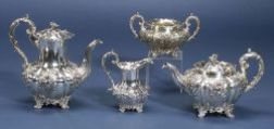 William IV/Victorian Four Piece Silver Tea and Coffee Service