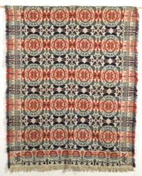 Woven Wool and Cotton Biederwand Coverlet