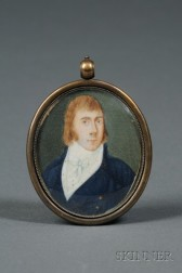 American School, 19th Century      Portrait Miniature of a Young Man Wearing a Blue Jacket.