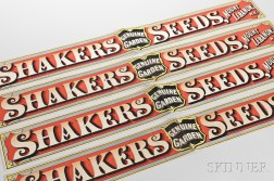 Four Shaker Seed Box Labels