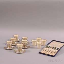 Six Gorham Sterling Silver Demitasse Cups and Saucers