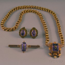 Small Group of Antique Gold and Amethyst Jewelry
