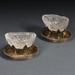 Pair of George IV Sterling Silver Salts and Undertrays
