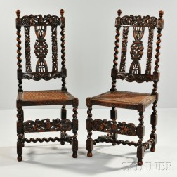 Pair of Renaissance Revival Flemish-style Walnut Side Chairs
