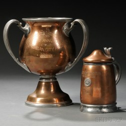 Two Reed & Barton Copper and Pewter Yacht Club Trophies for Naiad