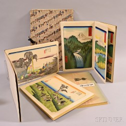 Five Hiroshige Woodblock Print Books and Sets