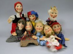 Eight Kersa Cloth Hand Puppets.