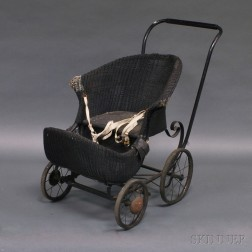 Victorian Black-painted Wicker Baby Carriage.