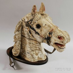 Carved and Painted Wooden Carousel Horse Head
