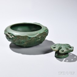 Art Pottery Bowl with Flower Frog