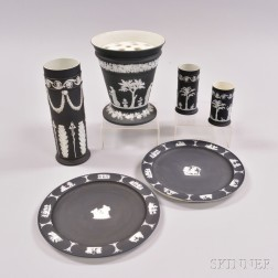Six Wedgwood Black Jasper Dip Items