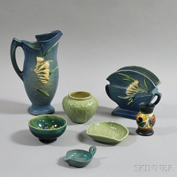 Seven Pieces of Mostly American Art Pottery