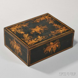Black-painted and Gilt-decorated Box
