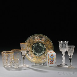 Eight Pieces of Decorated Glass
