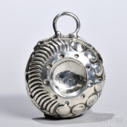 French .950 Silver Wine Tastevin, of typical form with a stylized snake handle, lacking makers mark, lg. 4 in., approx. 1.9 troy oz.