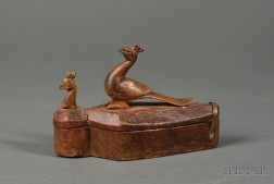 Small Carved Wooden Box with Pea Fowl Figures